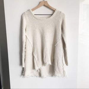 Anthropologie Ruby Moon Frayed Sweater Cream